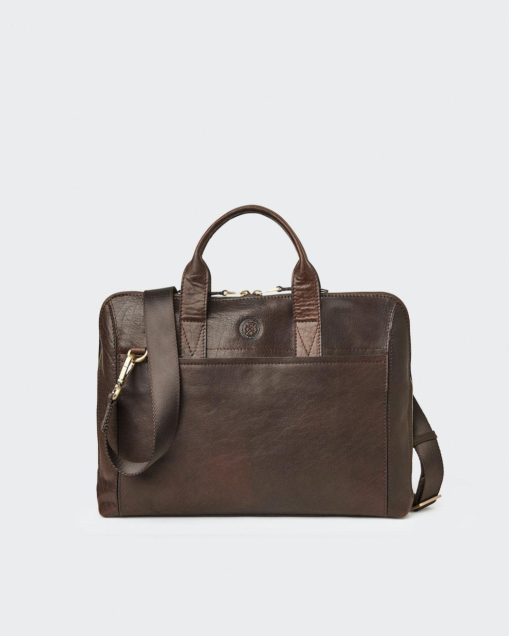 Gustav computer bag Dark brown Saddler